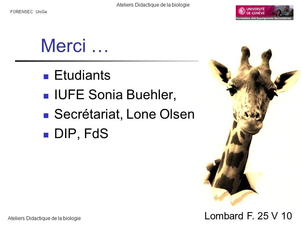 FORENSEC UniGe Ateliers Didactique de la biologie Lombard F. 25 V 10 Merci … Etudiants IUFE Sonia Buehler, Secrétariat, Lone Olsen DIP, FdS