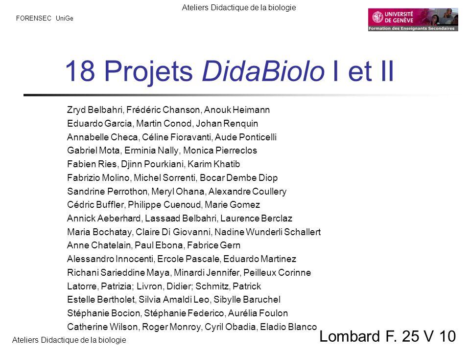 FORENSEC UniGe Ateliers Didactique de la biologie Lombard F. 25 V 10 18 Projets DidaBiolo I et II Zryd Belbahri, Frédéric Chanson, Anouk Heimann Eduar