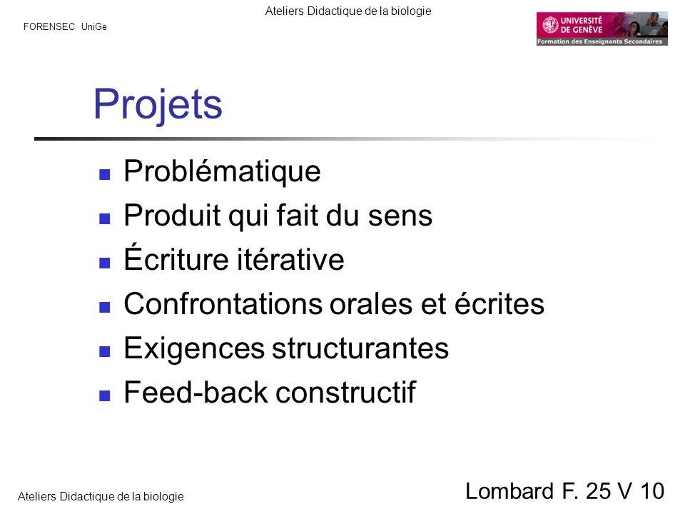 FORENSEC UniGe Ateliers Didactique de la biologie Lombard F. 25 V 10 Projets Problématique Produit qui fait du sens Écriture itérative Confrontations