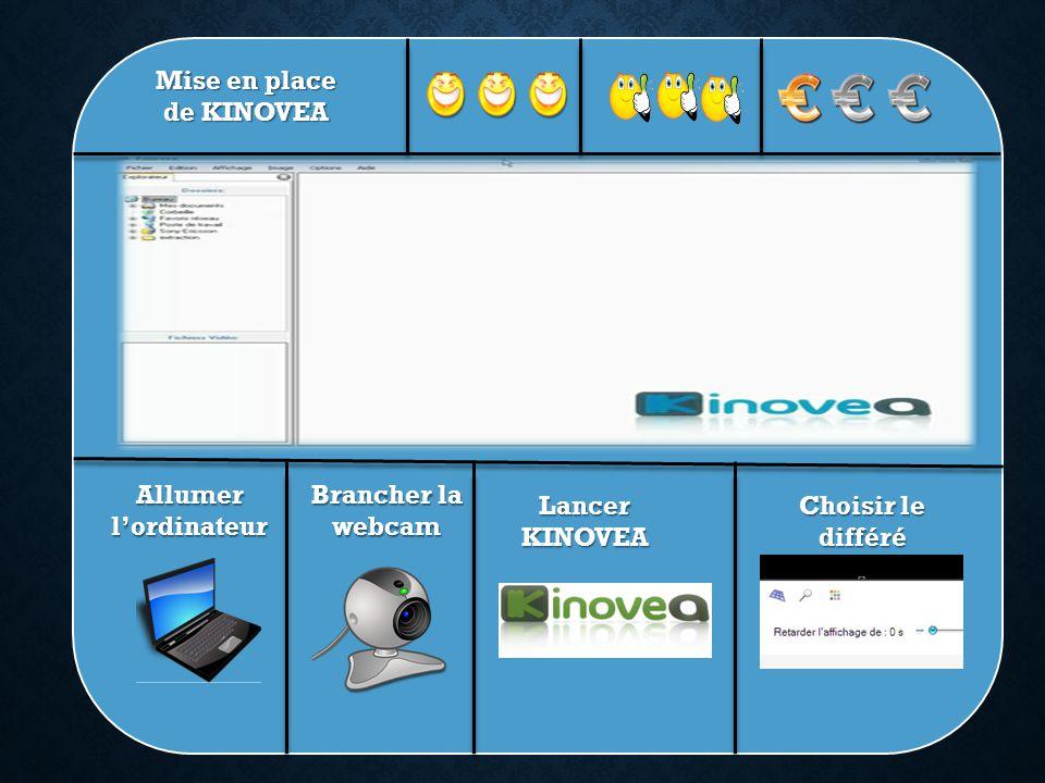 Mise en place de KINOVEA Allumer lordinateur Brancher la webcam Lancer KINOVEA Choisir le différé