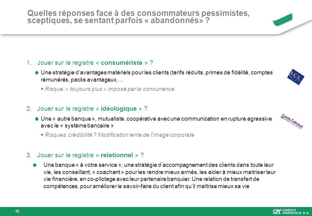 Quelles réponses face à des consommateurs pessimistes, sceptiques, se sentant parfois « abandonnés» ? 1.Jouer sur le registre « consumériste » ? Une s
