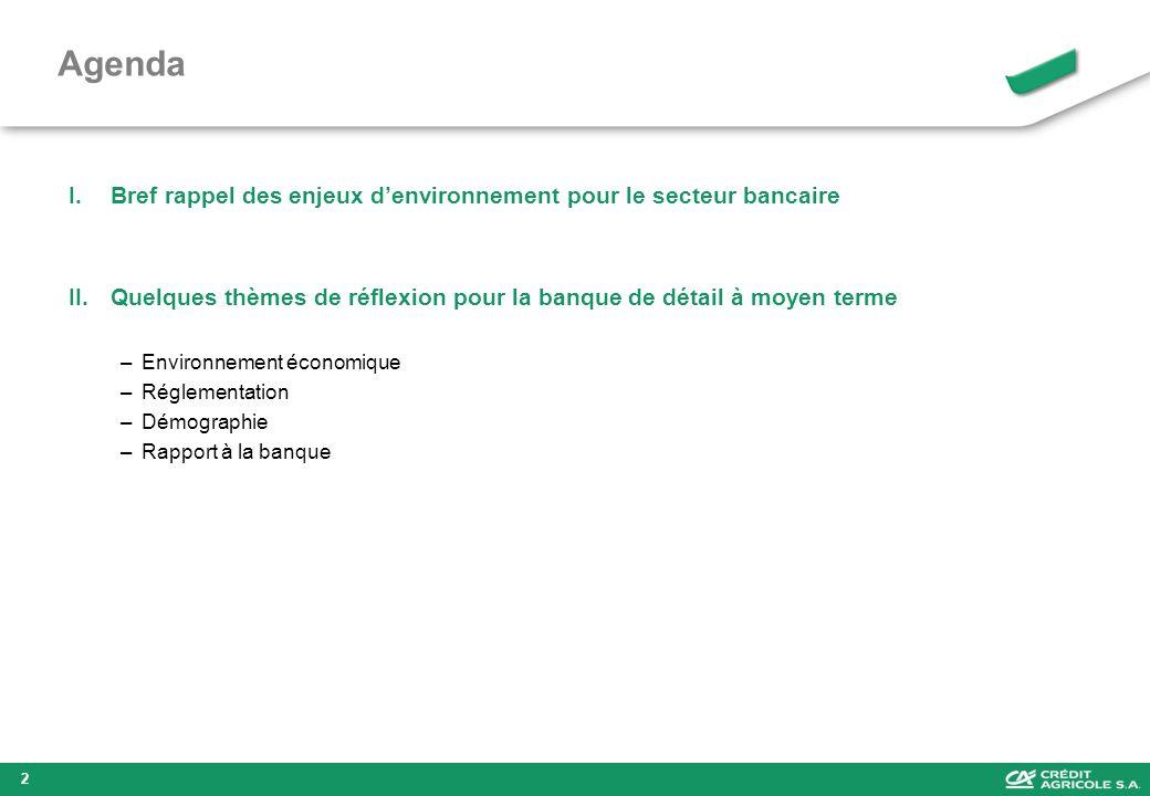 Agenda I.Bref rappel des enjeux denvironnement pour le secteur bancaire II.Quelques thèmes de réflexion pour la banque de détail à moyen terme –Enviro