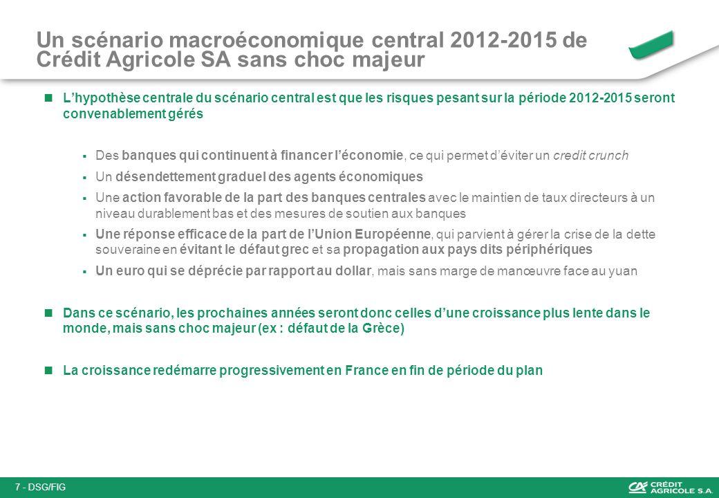 Un scénario macroéconomique central 2012-2015 de Crédit Agricole SA sans choc majeur Lhypothèse centrale du scénario central est que les risques pesan