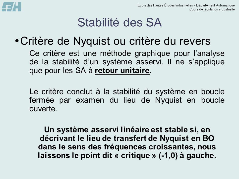 École des Hautes Études Industrielles - Département Automatique Cours de régulation industrielle Stabilité des SA Critère de Nyquist ou critère du rev