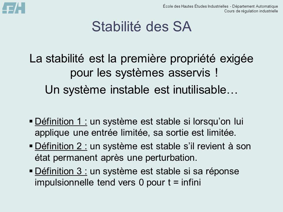 École des Hautes Études Industrielles - Département Automatique Cours de régulation industrielle Stabilité des SA La stabilité est la première proprié