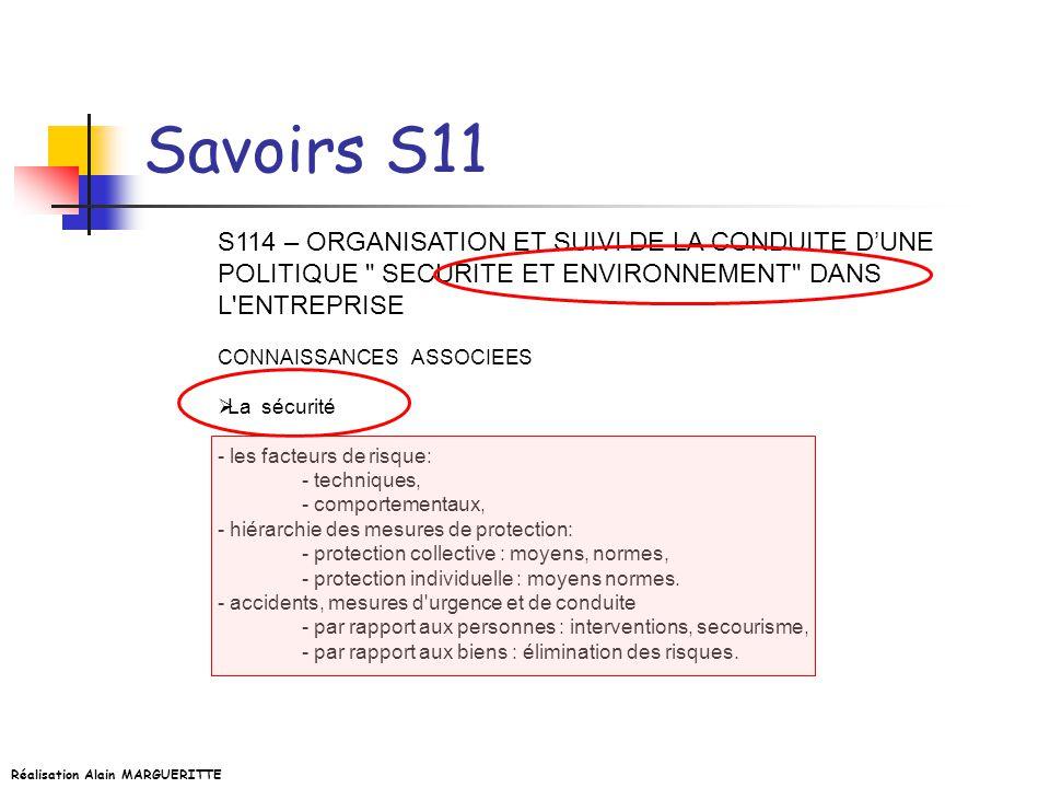 Réalisation Alain MARGUERITTE Savoirs S11 S114 – ORGANISATION ET SUIVI DE LA CONDUITE DUNE POLITIQUE