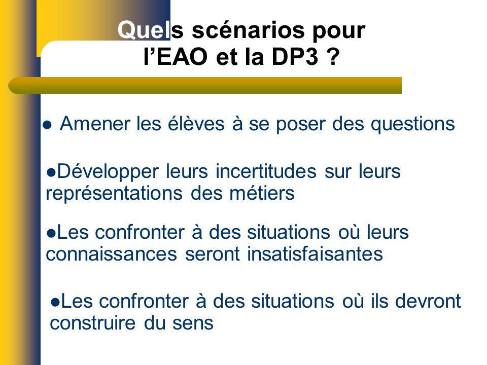 Quels scénarios pour lEAO et la DP3 .