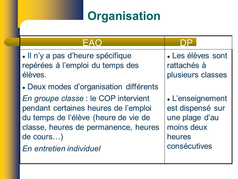 Organisation EAO DP Il ny a pas dheure spécifique repérées à lemploi du temps des élèves.