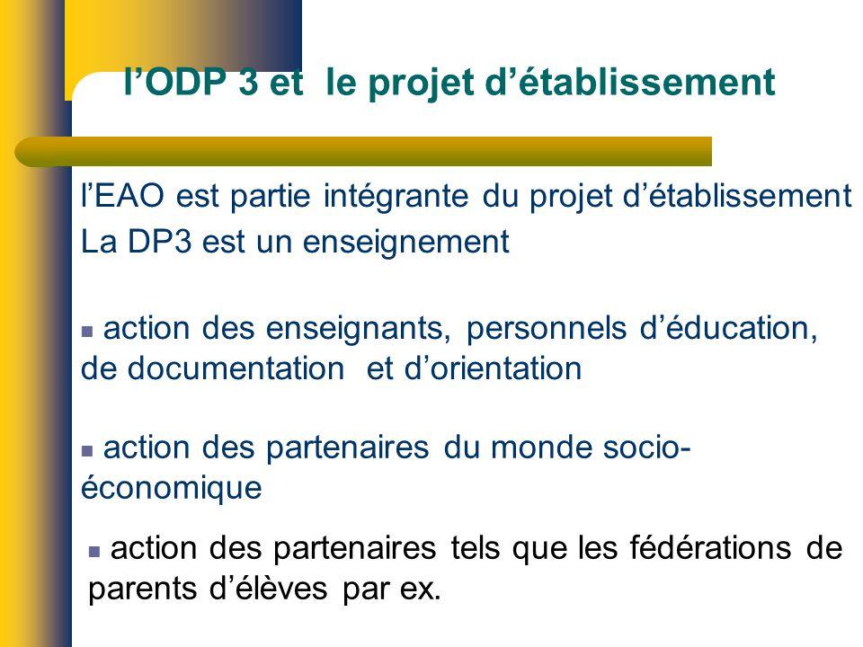 lODP 3 et le projet détablissement lEAO est partie intégrante du projet détablissement La DP3 est un enseignement action des enseignants, personnels déducation, de documentation et dorientation action des partenaires du monde socio- économique action des partenaires tels que les fédérations de parents délèves par ex.