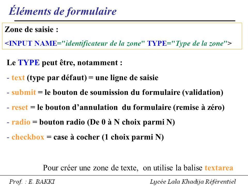 Éléments de formulaire Zone de saisie : Le TYPE peut être, notamment : - text (type par défaut) = une ligne de saisie - submit = le bouton de soumissi