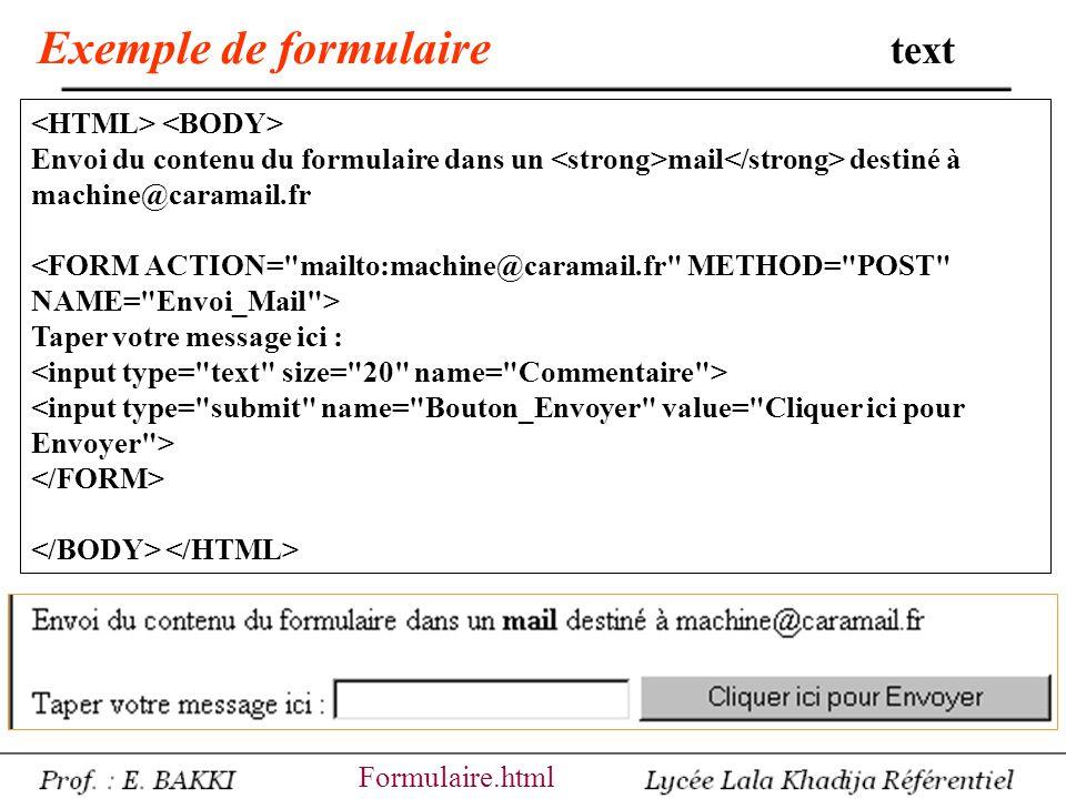 Exemple de formulaire text Votre Nom : Votre Courriel : Votre Adresse : Votre CP : Votre Ville : Formulaire2.html