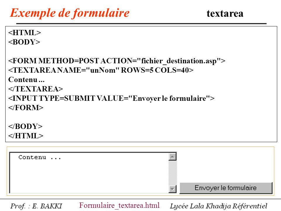 Exemple de formulaire textarea Contenu... Formulaire_textarea.html