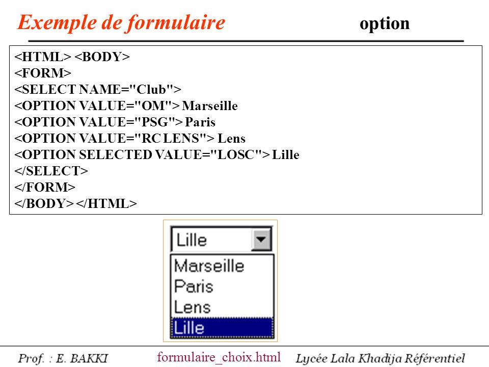 Exemple de formulaire sélection multiple Quel type de Voiture .