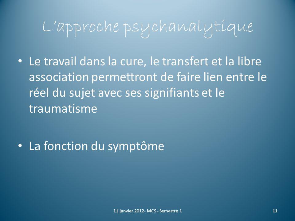 Lapproche psychanalytique Le travail dans la cure, le transfert et la libre association permettront de faire lien entre le réel du sujet avec ses sign
