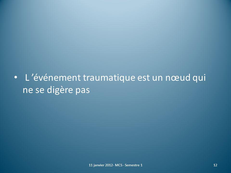 L événement traumatique est un nœud qui ne se digère pas 1211 janvier 2012- MCS - Semestre 1