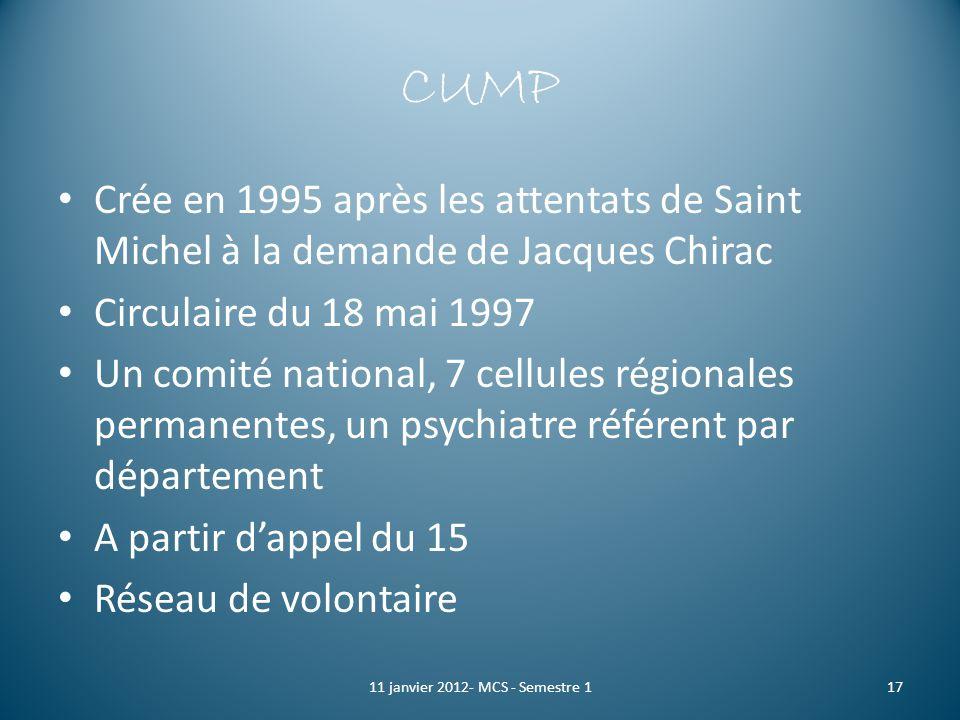 CUMP Crée en 1995 après les attentats de Saint Michel à la demande de Jacques Chirac Circulaire du 18 mai 1997 Un comité national, 7 cellules régional