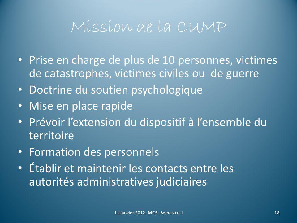 Mission de la CUMP Prise en charge de plus de 10 personnes, victimes de catastrophes, victimes civiles ou de guerre Doctrine du soutien psychologique