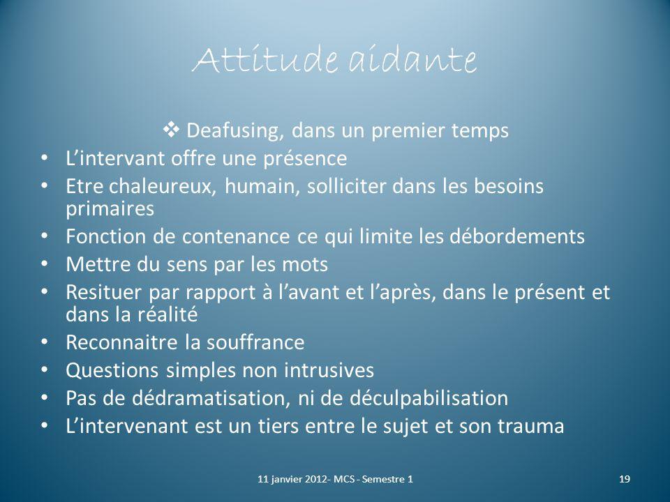 Attitude aidante Deafusing, dans un premier temps Lintervant offre une présence Etre chaleureux, humain, solliciter dans les besoins primaires Fonctio