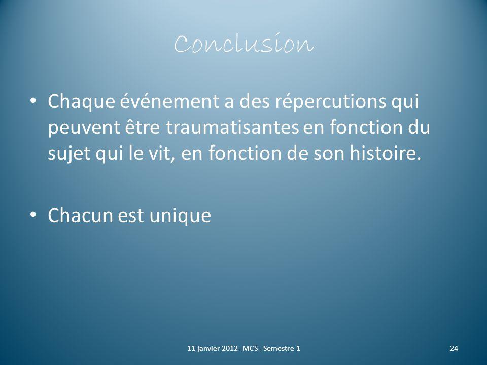 Conclusion Chaque événement a des répercutions qui peuvent être traumatisantes en fonction du sujet qui le vit, en fonction de son histoire. Chacun es