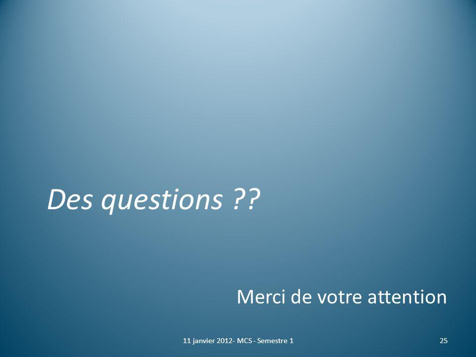 Des questions ?? Merci de votre attention 2511 janvier 2012- MCS - Semestre 1