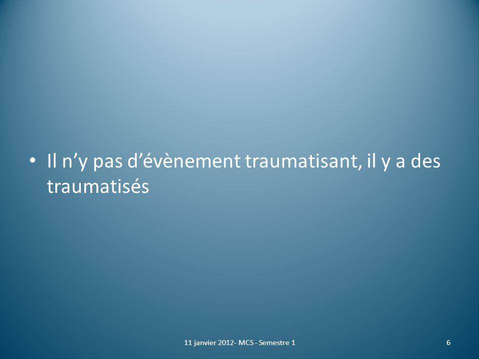 CUMP Crée en 1995 après les attentats de Saint Michel à la demande de Jacques Chirac Circulaire du 18 mai 1997 Un comité national, 7 cellules régionales permanentes, un psychiatre référent par département A partir dappel du 15 Réseau de volontaire 1711 janvier 2012- MCS - Semestre 1