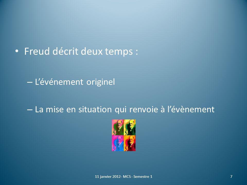 Freud décrit deux temps : – Lévénement originel – La mise en situation qui renvoie à lévènement 711 janvier 2012- MCS - Semestre 1