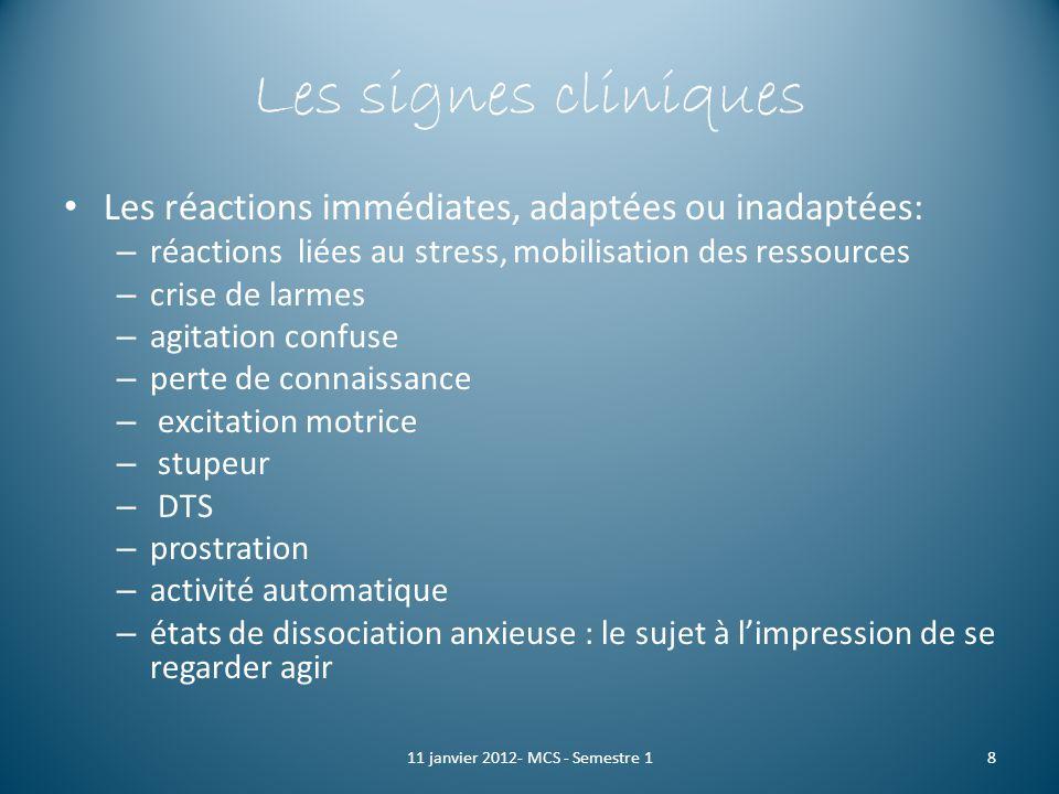 Les signes cliniques Les réactions immédiates, adaptées ou inadaptées: – réactions liées au stress, mobilisation des ressources – crise de larmes – ag