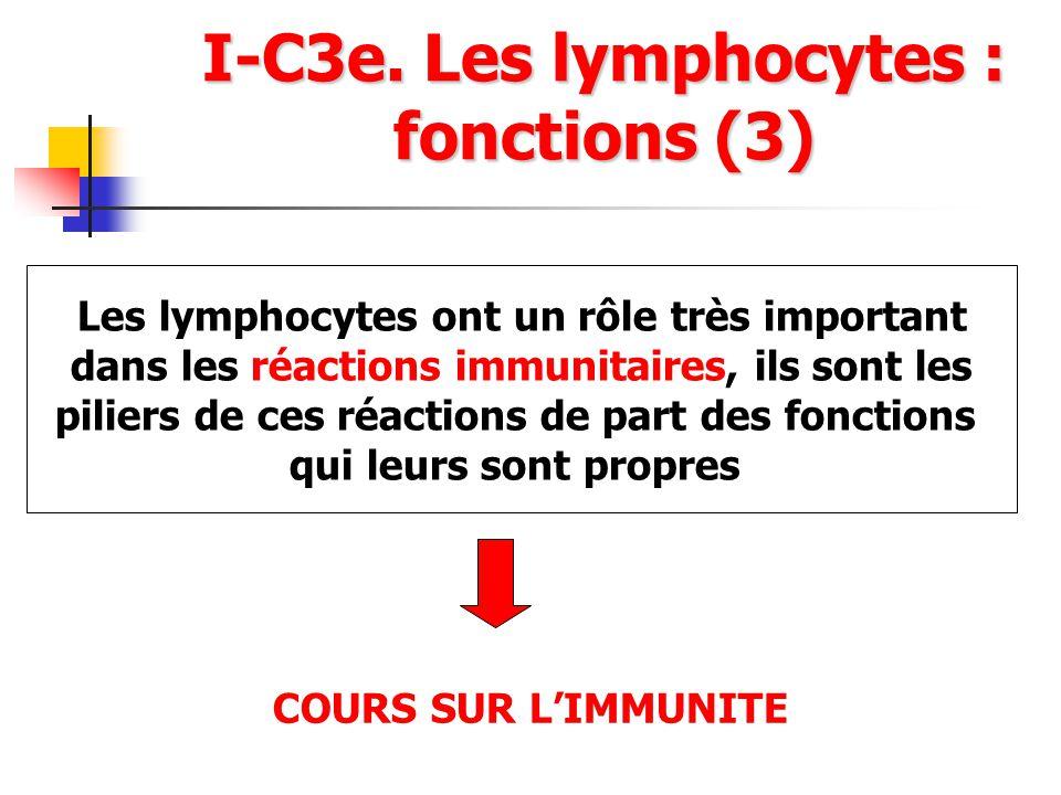I-C3e. Les lymphocytes : fonctions (3) Les lymphocytes ont un rôle très important dans les réactions immunitaires, ils sont les piliers de ces réactio