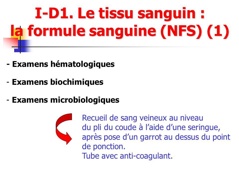 I-D1. Le tissu sanguin : la formule sanguine (NFS) (1) - Examens hématologiques - Examens microbiologiques - Examens biochimiques Recueil de sang vein
