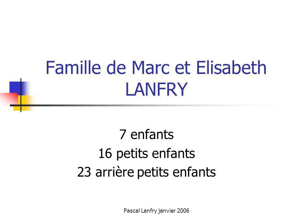 Pascal Lanfry janvier 2006 Famille de Marc et Elisabeth LANFRY 7 enfants 16 petits enfants 23 arrière petits enfants
