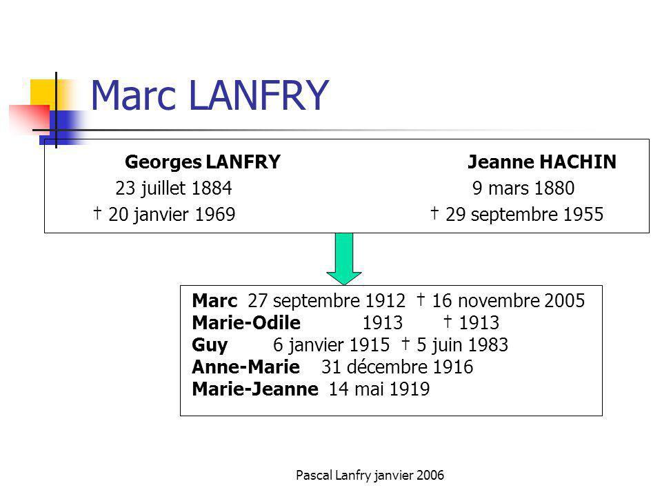 Pascal Lanfry janvier 2006 Marc LANFRY Georges LANFRY Jeanne HACHIN 23 juillet 1884 9 mars 1880 20 janvier 1969 29 septembre 1955 Marc 27 septembre 19