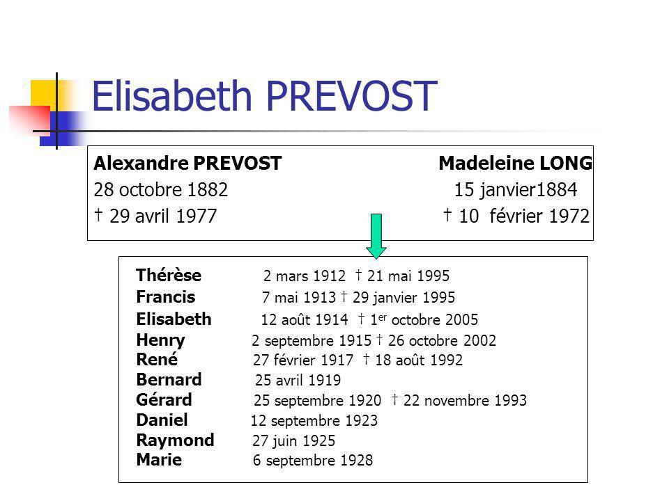 Elisabeth PREVOST Alexandre PREVOST Madeleine LONG 28 octobre 1882 15 janvier1884 29 avril 1977 10 février 1972 Thérèse 2 mars 1912 21 mai 1995 Franci