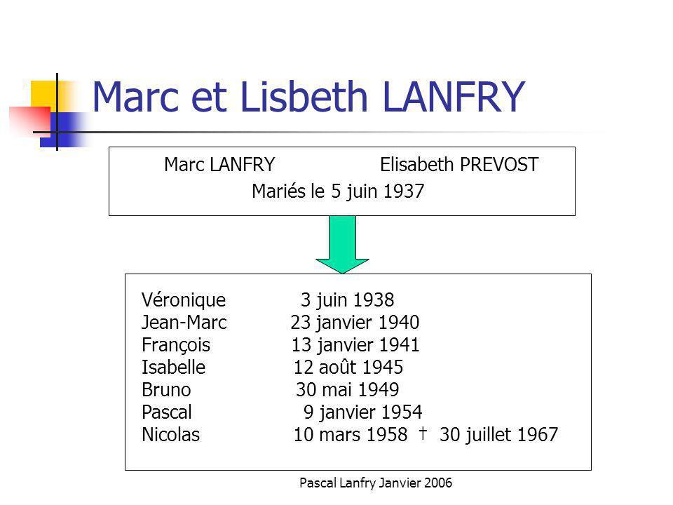 Pascal Lanfry Janvier 2006 Marc et Lisbeth LANFRY Marc LANFRY Elisabeth PREVOST Mariés le 5 juin 1937 Véronique 3 juin 1938 Jean-Marc 23 janvier 1940