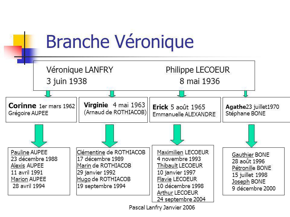 Pascal Lanfry Janvier 2006 Branche Véronique Véronique LANFRY Philippe LECOEUR 3 juin 1938 8 mai 1936 Corinne 1er mars 1962 Grégoire AUPEE Virginie 4