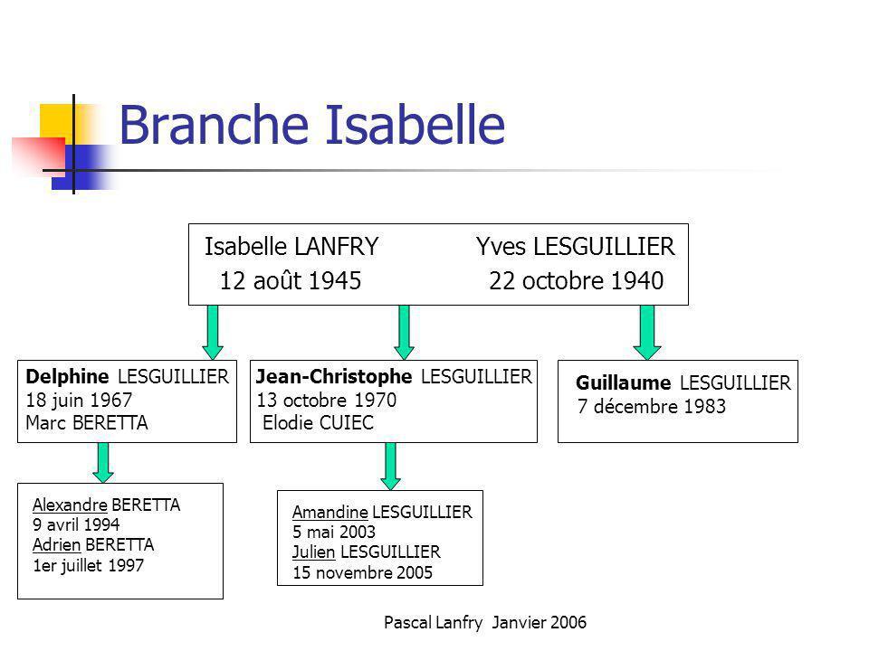 Pascal Lanfry Janvier 2006 Branche Isabelle Isabelle LANFRY Yves LESGUILLIER 12 août 1945 22 octobre 1940 Delphine LESGUILLIER 18 juin 1967 Marc BERET