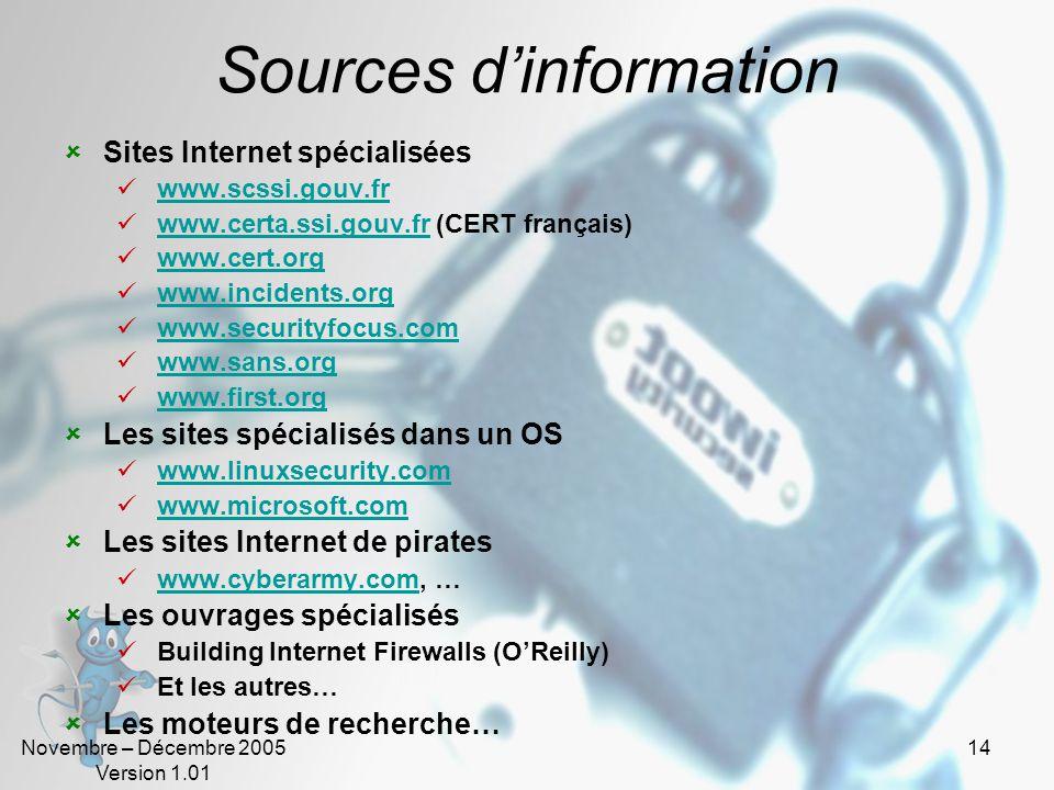 Novembre – Décembre 2005 Version 1.01 14 Sources dinformation Sites Internet spécialisées www.scssi.gouv.fr www.certa.ssi.gouv.fr (CERT français)www.certa.ssi.gouv.fr www.cert.org www.incidents.org www.securityfocus.com www.sans.org www.first.org Les sites spécialisés dans un OS www.linuxsecurity.com www.microsoft.com Les sites Internet de pirates www.cyberarmy.com, …www.cyberarmy.com Les ouvrages spécialisés Building Internet Firewalls (OReilly) Et les autres… Les moteurs de recherche…