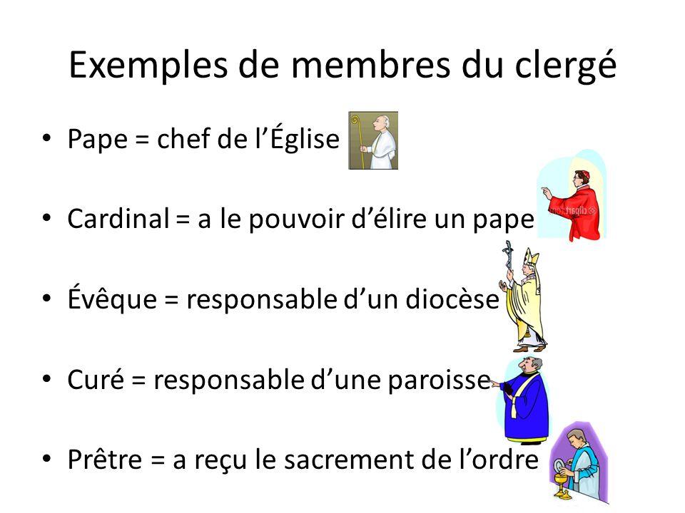 Exemples de membres du clergé Pape = chef de lÉglise Cardinal = a le pouvoir délire un pape Évêque = responsable dun diocèse Curé = responsable dune paroisse Prêtre = a reçu le sacrement de lordre