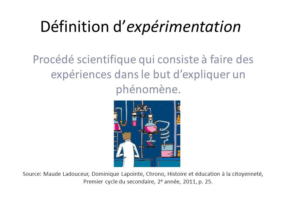 Définition dexpérimentation Procédé scientifique qui consiste à faire des expériences dans le but dexpliquer un phénomène.