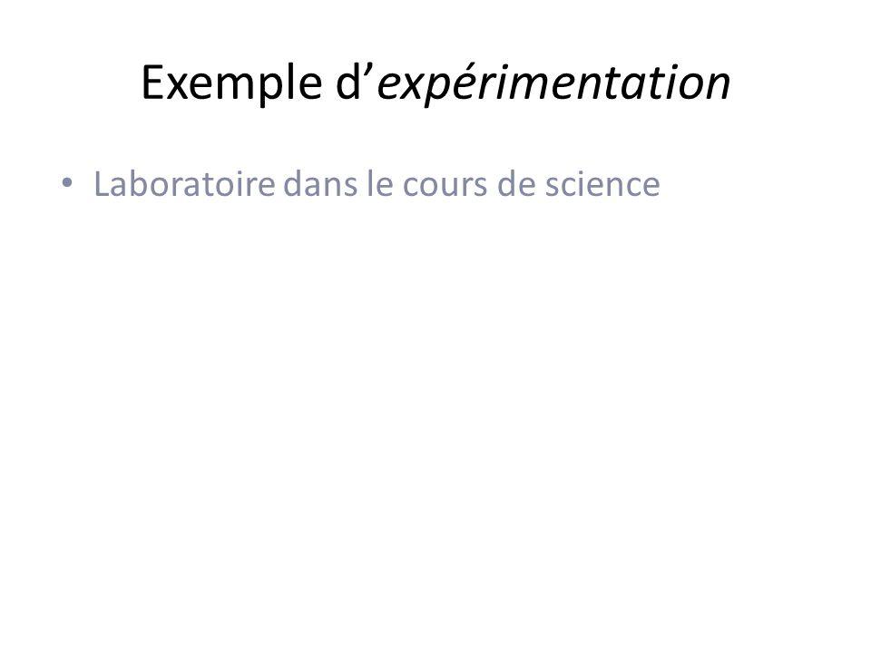 Exemple dexpérimentation Laboratoire dans le cours de science