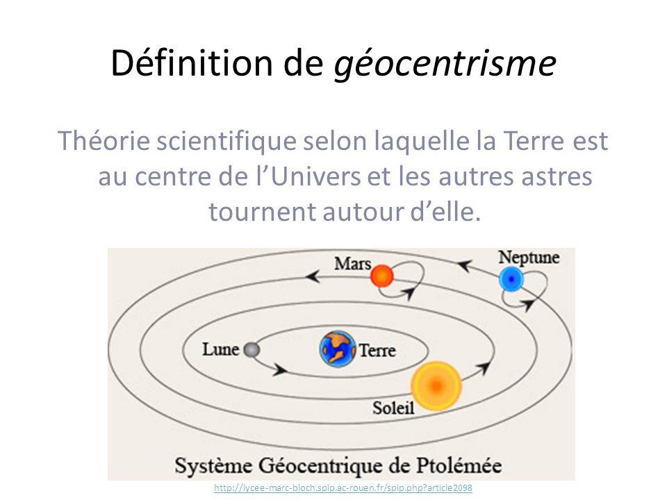 Définition de géocentrisme Théorie scientifique selon laquelle la Terre est au centre de lUnivers et les autres astres tournent autour delle.