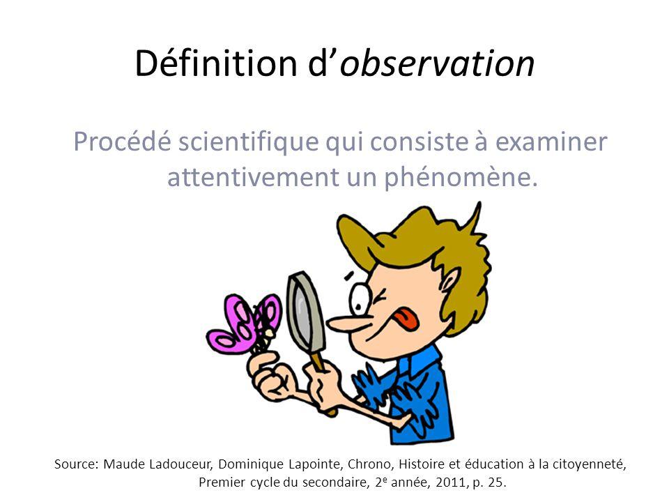 Définition dobservation Procédé scientifique qui consiste à examiner attentivement un phénomène.