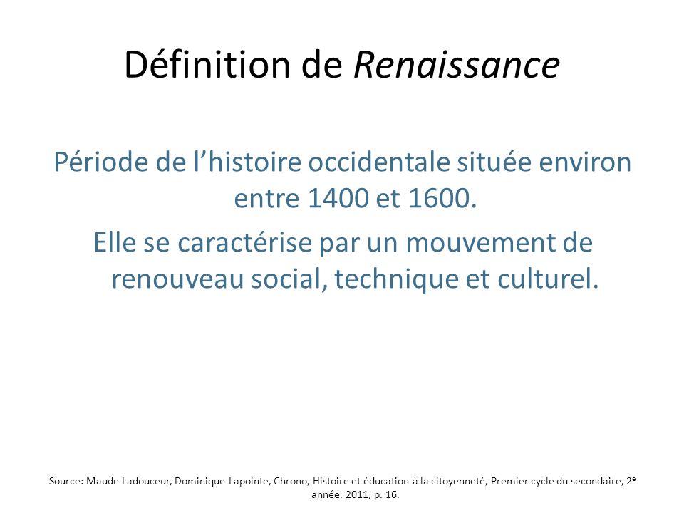 Définition de Renaissance Période de lhistoire occidentale située environ entre 1400 et 1600.