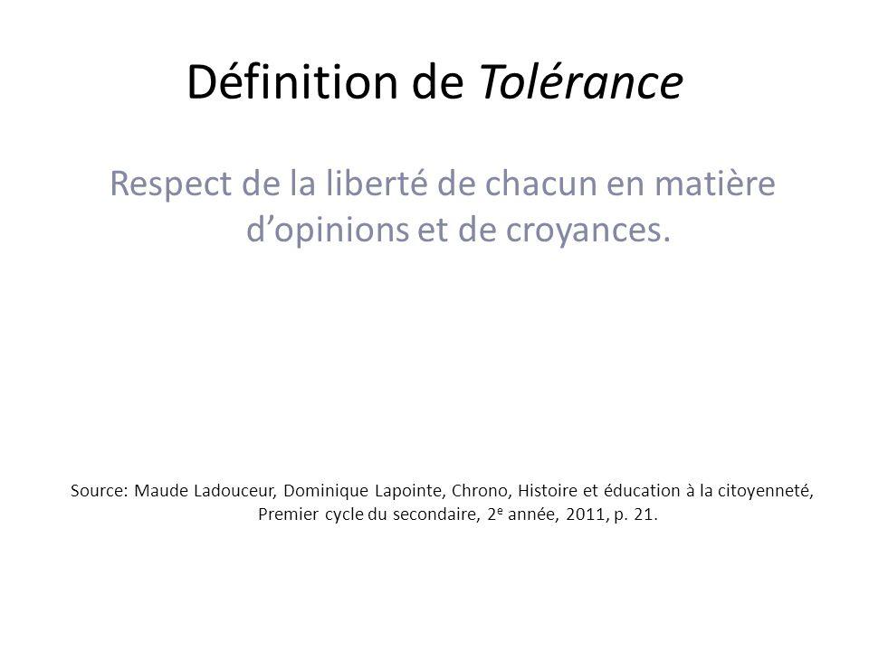 Définition de Tolérance Respect de la liberté de chacun en matière dopinions et de croyances.