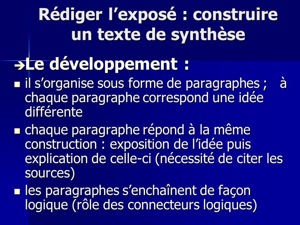 Rédiger lexposé : construire un texte de synthèse Le développement : Le développement : il sorganise sous forme de paragraphes ; à chaque paragraphe c