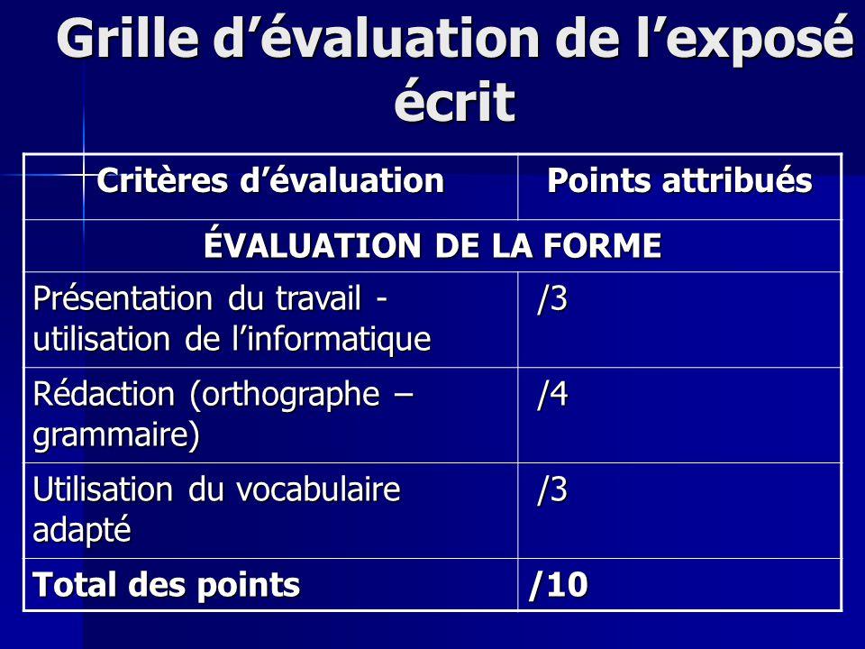 Grille dévaluation de lexposé écrit Critères dévaluation Points attribués ÉVALUATION DE LA FORME Présentation du travail - utilisation de linformatiqu
