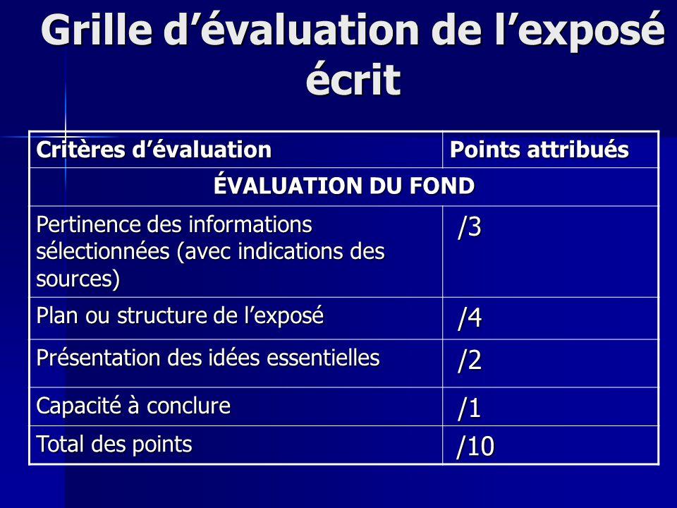 Grille dévaluation de lexposé écrit Critères dévaluation Points attribués ÉVALUATION DU FOND Pertinence des informations sélectionnées (avec indicatio