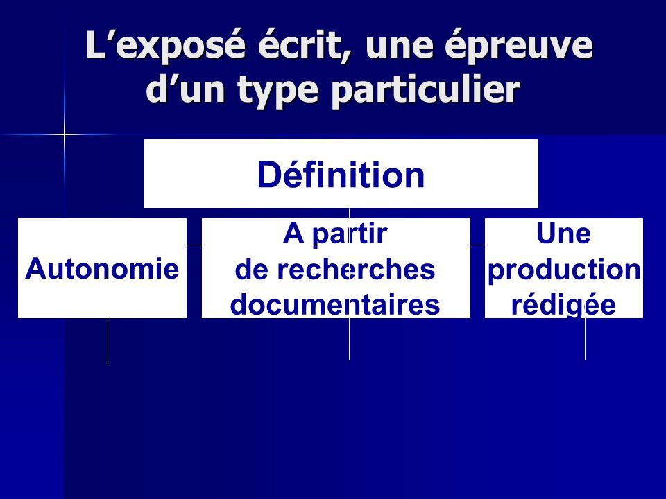 Lexposé écrit, une épreuve dun type particulier Lexposé écrit, une épreuve dun type particulier Définition Autonomie A partir de recherches documentai