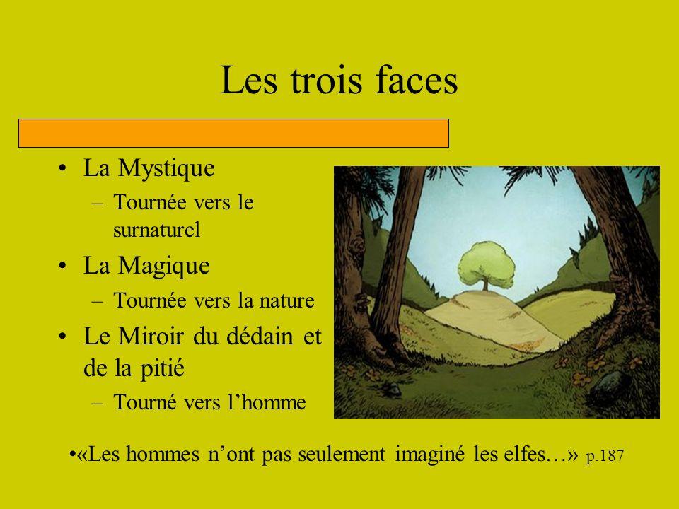 Les trois faces La Mystique –Tournée vers le surnaturel La Magique –Tournée vers la nature Le Miroir du dédain et de la pitié –Tourné vers lhomme «Les