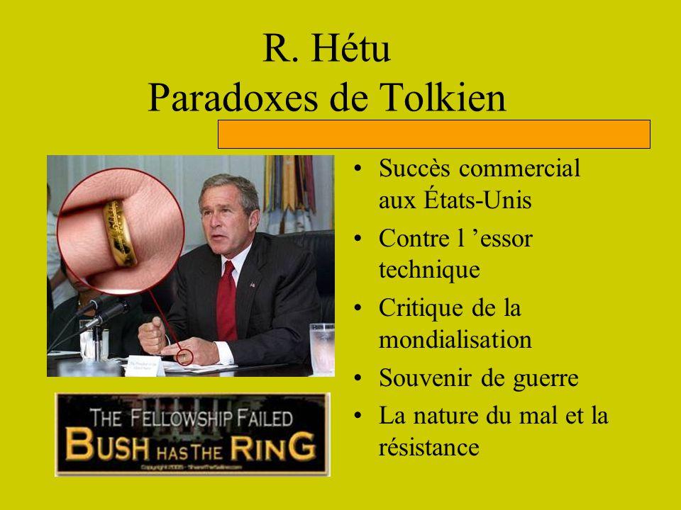 R. Hétu Paradoxes de Tolkien Succès commercial aux États-Unis Contre l essor technique Critique de la mondialisation Souvenir de guerre La nature du m