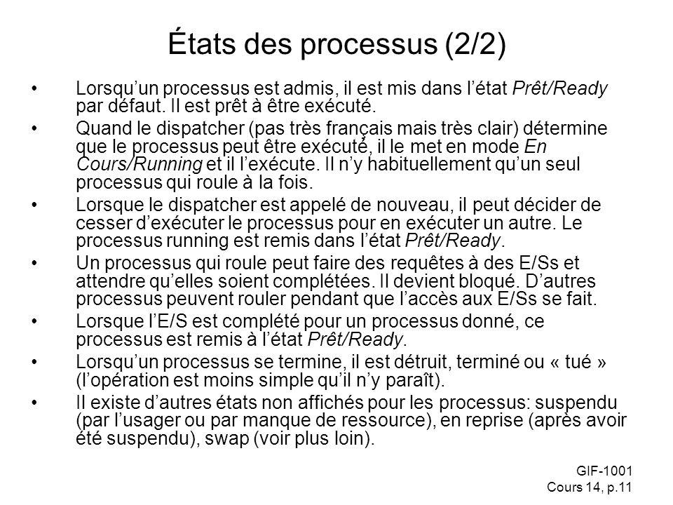GIF-1001 Cours 14, p.11 États des processus (2/2) Lorsquun processus est admis, il est mis dans létat Prêt/Ready par défaut. Il est prêt à être exécut